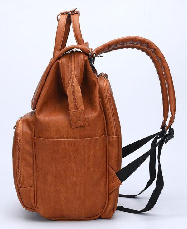 Leather Diaper Backpack Bag Side
