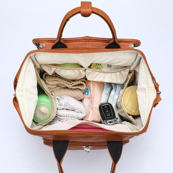 Leather Diaper Backpack Bag Open