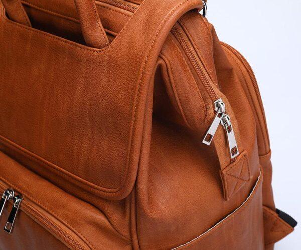 Leather Diaper Backpack Zipper