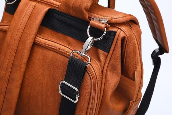 Leather Diaper Backpack Detail