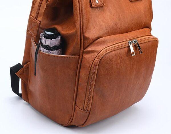 Leather Diaper Bag Side Pocket