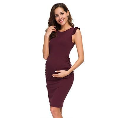Ruched Maternity Dress Maroon