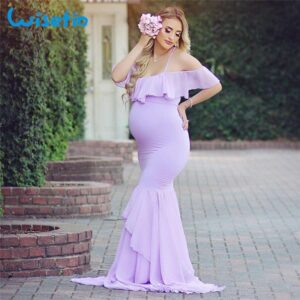 Long Maternity dress for baby shower lavender