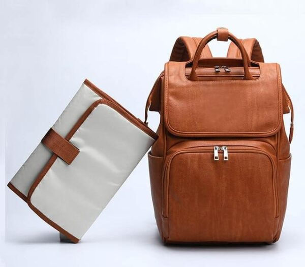Leather Diaper Bag Brown