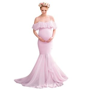 Long maternity dress for baby shower-maternity-Pink-AmyandRose