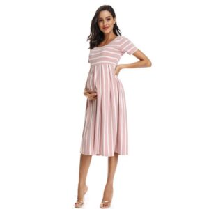 Striped Maternity Dress Peach