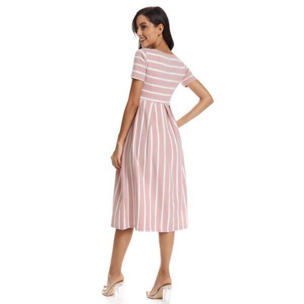 Striped Maternity Dress Peach Back