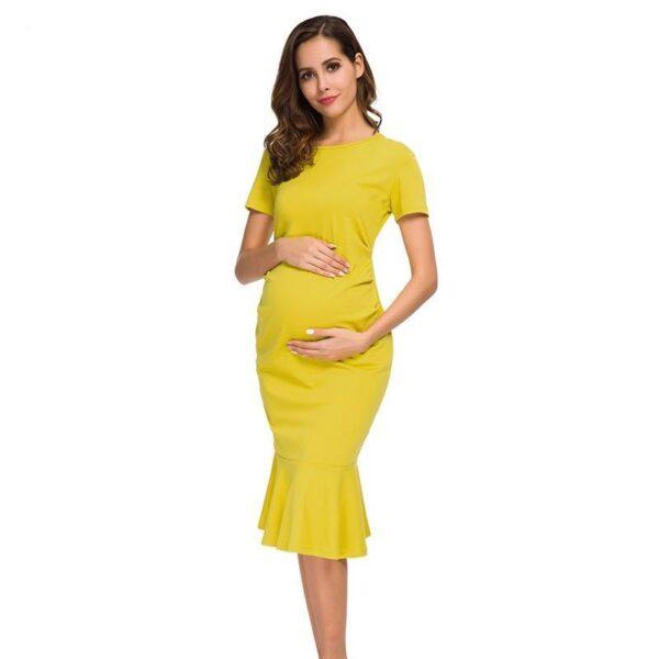 Bodycon Maternity Dress Mustard