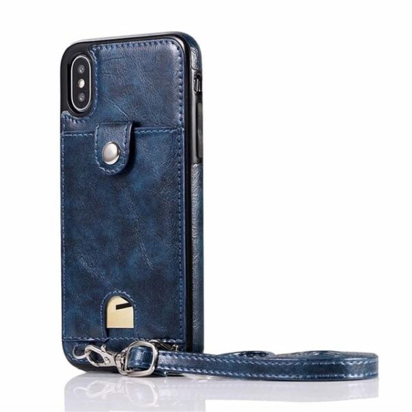 Iconic iPhone Purse Case with Shoulder Strap Dark Blue