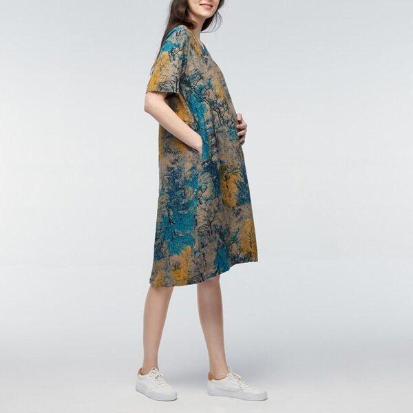 Vintage Maternity Dress Blue Model Side