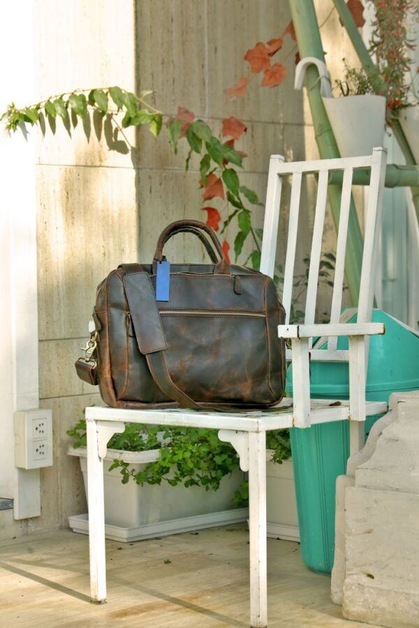 Leather Convertible Backpack Front View